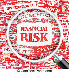 FINANCIAL RISK. Word cloud illustration. Tag cloud concept collage. Usable for different business design.