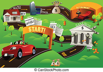 Financial roadmap - A vector illustration of financial...