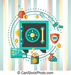 Financial banking safe money protection concept with wealth profit elements vector illustration