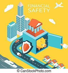 Financial safety and money making. Open safe with piggy bank...