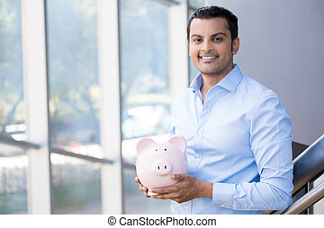 financial savings - Closeup portrait happy, smiling...