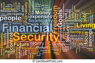 Financial security background concept glowing