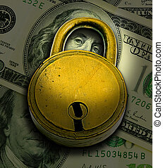 Financial Security Concept (Lock Over Money)