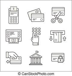 Financial security icons. Linear style