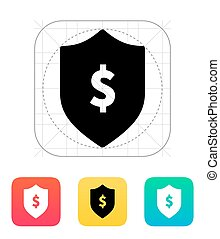 Financial security shield with dollar sign icon.