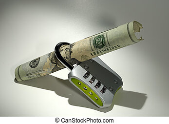 Financial Security - Photo of a Lock and Money - Financial...