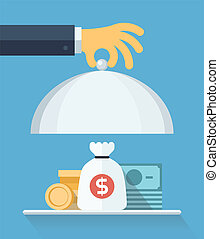 Flat design style modern vector illustration concept of businessman offering a money on the serve plate for funding a commercial project or investment in bank deposit. Isolated on the blue background