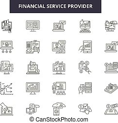 Financial service provider line icons, signs set, vector....