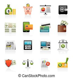 financial services icons - banking and financial services...