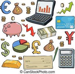 Financial set on white background vector illustration