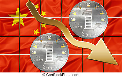 Chinese currency Yuan coins and golden shares arrow pointing down. Business concept about financial crisi, failure and debit, bankruptcy
