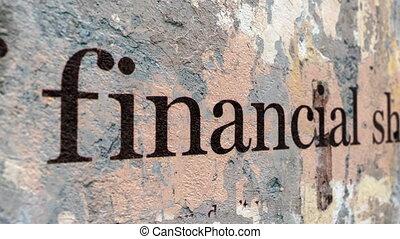 Financial shocks text on grunge background