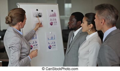 Elegant business lady presenting the annual financial results to her team members