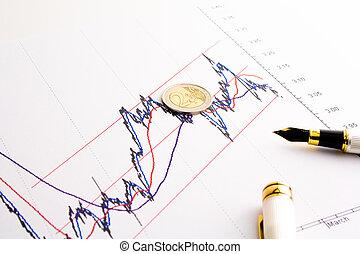 financial spread btp bund chart - detail of euro coin on...