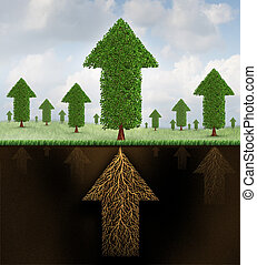 Financial stability and strong growing economy metaphor as a group of trees shaped as arrows and a root system shaped as as an arrow pointing up towards succees as a business symbol of economic teamwork strength.
