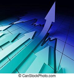 3d business background image, arrown on stat