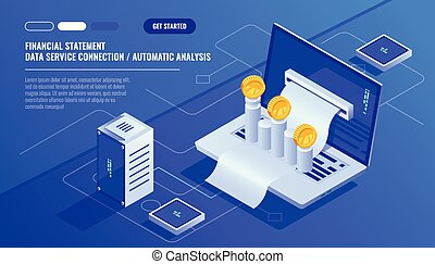 Financial statement, analysis and statistic online servises, laptop with payment schedule, money cash accounting isometric vector