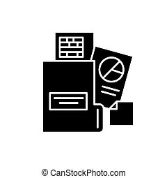 Financial statement black icon, vector sign on isolated background. Financial statement concept symbol, illustration