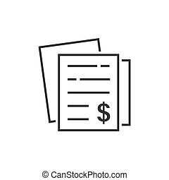 Financial statement icon in flat style. Document vector...