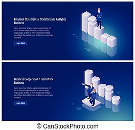 Financial statement, statistics and, analytics, business cooperation, team work, partner, businessman, chart, success vector illustration on ultraviolet