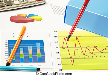 Financial statements - Business still-life with diagrams,...