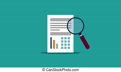 financial statistics bars document and magnifying glass hd -...