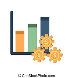 financial statistics bars with dollars gears