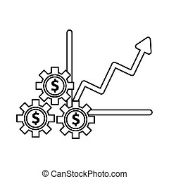 financial statistics graphic with gears dollars