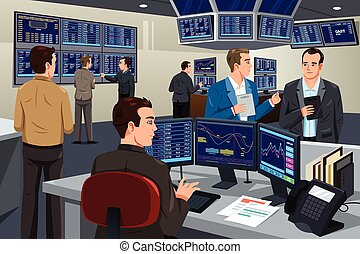 Financial stock trader working in a trading room - A vector...
