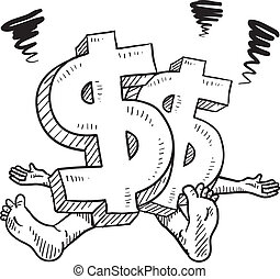 Financial stress vector sketch - Doodle style financial...