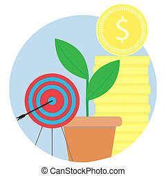 Financial success, achieving goals vector icon
