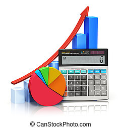 Business financial success, tax and accounting, statistics and analytic research concept: office electronic calculator, bar graph and pie diagram isolated on white background with reflection effect Design is my own and all text labels and numbers are fully abstract
