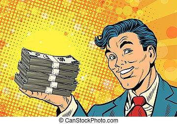 Financial success businessman with money, pop art retro...