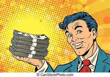 Financial success businessman with money, pop art retro...