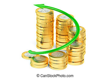 Financial success concept, business graph with green arrow and coins
