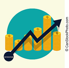 Financial success concept. Coin bar graph business infographic.