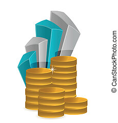 Financial success concept coins and graph