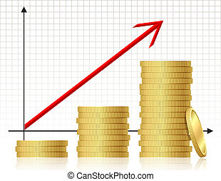 Financial success concept - graph with coins. Vector.