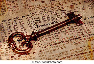 Financial Success - Key and Stock Quotes With Aged Effect.