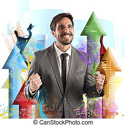 Financial success - Happy businessman rejoices to his...
