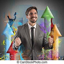 Financial success - Happy businessman rejoices to his...