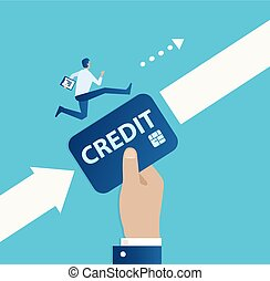 Vector of a big hand with credit card helping entrepreneur to achieve a startup goal.