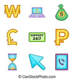 Financial support icons set, cartoon style