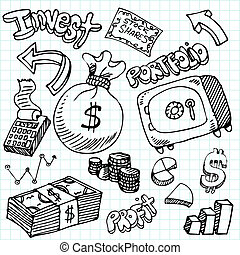 Financial Symbol Doodle Set - An image of a financial symbol...
