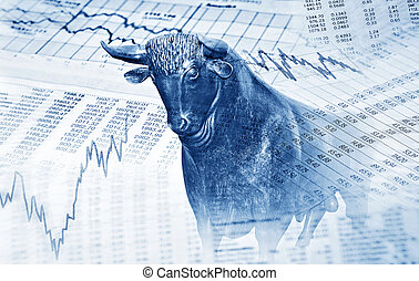 Financial symbols and bull