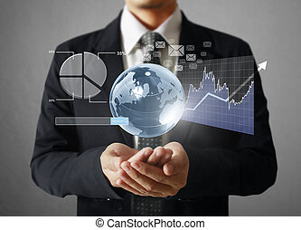 financial symbols coming from han - businessman with...