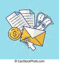 financial technology with envelope icon