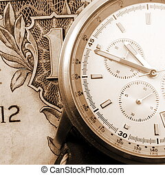 financial time concept with money and watch...
