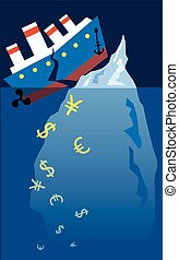 A steam boat hit an iceberg and broke onto halves, currency symbols sinking under it, vector illustration, no transparencies, EPS 8