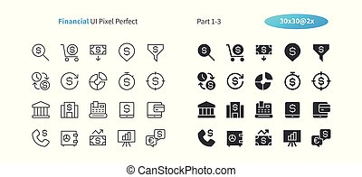 Financial UI Pixel Perfect Well-crafted Vector Thin Line And Solid Icons 30 2x Grid for Web Graphics and Apps. Simple Minimal Pictogram Part 1-3